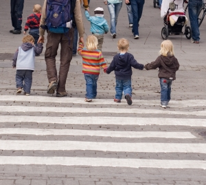 kids crossing the road